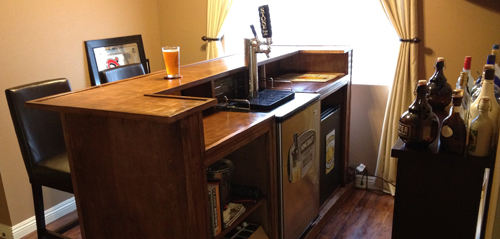Justin 39 s kegerator bar american homebrewers association Home bar furniture with kegerator