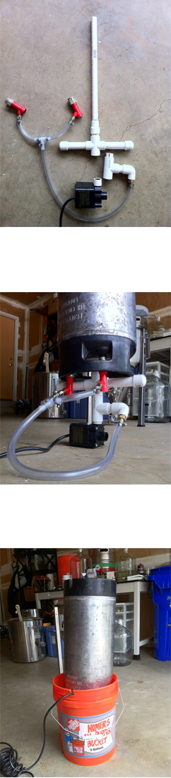 Matts keg and carboy washer american homebrewers association the basic setup is a 12 diameter vertical tube attached to a pond pump that sits in a five gallon bucket and re circulates cleaning solution through your publicscrutiny Images